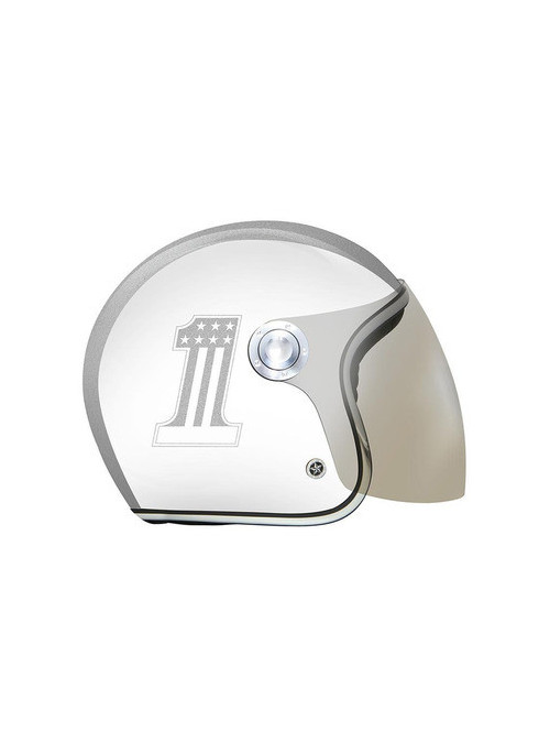 CASQUE GPA CARBON AIR ONE BLANC BRILLANT ARGENTE M